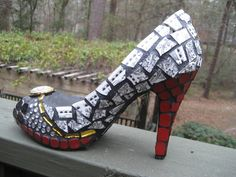 Black White & Red Mosaic Shoe Sculpture by tallymosaics
