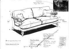 Sketch of the Broadway Sofa 0750, eventually called the Edward V11 Chair