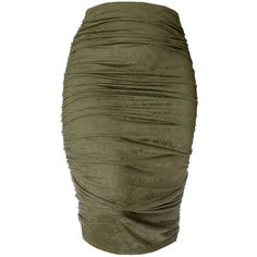 Faux Suede Shirred Pencil Skirt, Olive found on Polyvore featuring polyvore, women's fashion, clothing, skirts, bottoms, knee length pencil skirt, brown skirt, brown pencil skirt, fitted pencil skirt and high-waisted pencil skirts