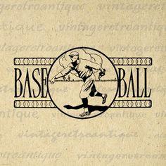 Digital Baseball Graphic Printable Baseball by VintageRetroAntique
