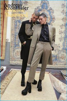 Models Tamy Glauser and Francisco don tailoring for Vivienne Westwood's fall-winter 2016 campaign.