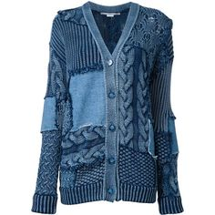 Stella McCartney Patch detail oversized cardigan featuring polyvore, women's fashion, clothing, tops, cardigans, blue, v neck long sleeve top, loose fitting tops, blue cardigan, long sleeve cardigan and v-neck tops