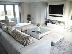 modern grey living room with glass fireplace – Carpet Grey Carpet Living Room, Living Room White, Living Room On A Budget, White Rooms, Living Room Modern, Living Room Sofa, Living Room Designs, Living Room And Kitchen Together, Living Rooms
