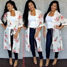 Fabric Content: POLYESTER Description: L: B: W: Long Floral Kimono, Long Kimono, Kimono Top, Hijab Fashion, Women's Fashion, Flutter Sleeve, Fabric, Kimonos, Dressmaking