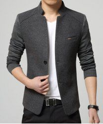 Solid Color Knit Splicing Stand Collar Long Sleeve Slimming Trendy Cotton Blend Blazer For Men - GRAY XL