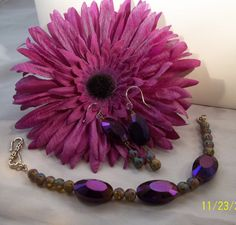 Purple Oval Crystal Stardust Bracelet and Earrings by dentedhalo, $32.00