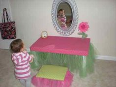 diy vanity for little girl. Love this idea for a DIY vanity  not big on the plastic ones Little girl s mirror from kidcraft But I think could be