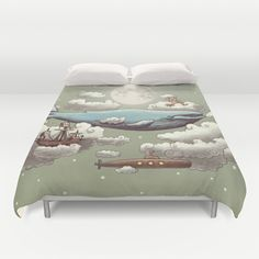 Ocean Meets Sky by Terry Fan. #duvet #cover #bed #bedroom #home #whale