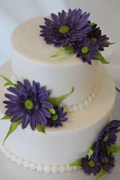 Purple Daisy Cake - Buttercream cake with Gum Paste Daisy Flowers