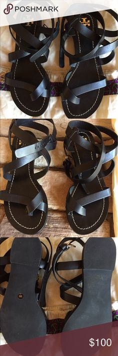 Tory Burch Patos Sandals Black gladiator sandals only worn once. They are super cute; they just aren't my style. Tory Burch Shoes Sandals