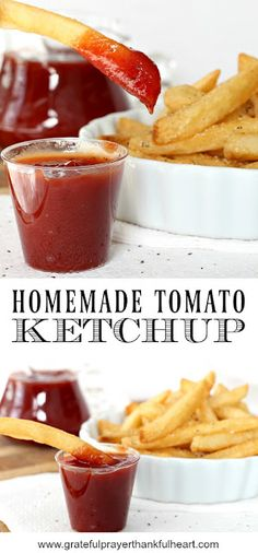 A favorite American condiment, homemade tomato ketchup is easy, inexpensive and just as good as store-bought. Recipe using items you probably already have. Tomato Ketchup Recipe, Homemade Tomato Ketchup, Homemade Ketchup Recipes, Homemade Sauce, Canning Recipes, Homemade Food, Grateful Prayer, Thankful Heart, Dips