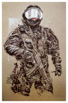 A heavily laden Austrian Jagdkommando (love that word!) in traditional medium, and digital touchup/colors. Soldier Drawing, Special Forces Gear, Character Art, Character Design, Military Drawings, Templer, War Dogs, Military Pictures, Civil War Photos