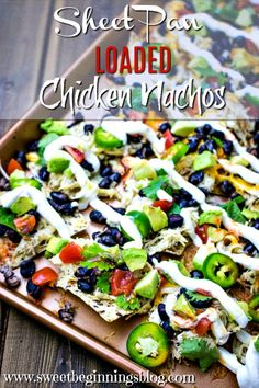 These Sheet Pan Loaded Chicken Nachos are perfect for a quick and easy dinner any night of the week, but are especially fun for a finger food Friday! Best Appetizers, Appetizer Recipes, Other Recipes, Great Recipes, Vitamin Rich Foods, Breakfast Nachos, Vegan Nachos, Easy Family Meals