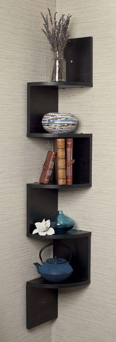 Corner zig zag wall shelf! Brilliant idea!