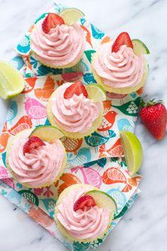 Strawberry Margarita Cupcakes via The Baker Chick