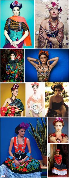 frida kahlo inspiration in fashion photography shoots -look-shooting-magazine hairstyle                                                                                                                                                 Karneval, Verkleidung, Fasching, Kostüm, Costume, Carnival, Schminke,