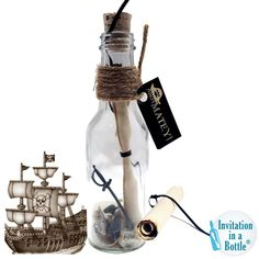 Set 12 - Pirate Party Invitations, Kids Birthday Party Invitations In A Bottle, Fun Pirate Theme Party Invites, Boys Birthday Themes Pirate Birthday, Pirate Theme, Birthday Fun, Pirate Wedding, Kids Birthday Party Invitations, Wedding Invitations, Birthday Themes For Boys, Message In A Bottle, Etsy