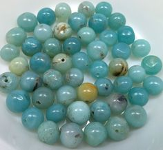 Blue Peruvian Opal Beads, Natural, (26 beads), LOT 791 by ItsAJewelryThing on Etsy