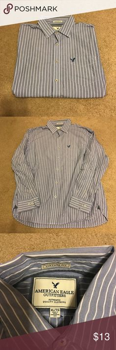 Men's button down Blue and white worn once then dry cleaned American Eagle Outfitters Shirts Casual Button Down Shirts