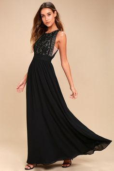 Lulus Exclusive! It's official, the Forever and Always Black Lace Maxi Dress is our go-to stunner! Lovely floral lace with a nude lining shapes a rounded neckline and sleeveless bodice with plunging arm openings (with sheer, nude mesh). Banded, lace waist, and cascading Georgette maxi skirt. Hidden back zipper/clasp.