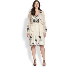 Beyond Vintage, Salon Z Embroidered Surplice Dress ($390) found on Polyvore