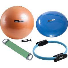 Disco de Equilibrio 33cm + Anel de  Pilates 35cm + Bola de Pilates Laranja  65cm 44496189f4ea4