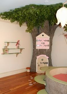 Breathtaking Kids' Bedroom Decorated with Fairytale Themes : Unique Fairy Bedroom Design With Blue Ceiling And Grey Tree Replica Furniture D. Classroom Tree, Classroom Decor, Forest Classroom, Future Classroom, Kids Bedroom Designs, Kids Room Design, Bedroom Ideas, Tree Bedroom, Childs Bedroom