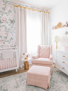 Nursery Inspiration Blush Glam Floral Nursery by Little Crown Interiors Irene Khan's sweet floral nu