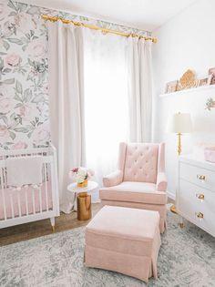 Nursery Inspiration Blush Glam Floral Nursery by Little Crown Interiors Irene Khan's sweet floral nu Baby Bedroom, Baby Room Decor, Nursery Room, Girls Bedroom, Nursery Dresser, Girl Nursery Decor, Cottage Nursery, Bedrooms, White Nursery
