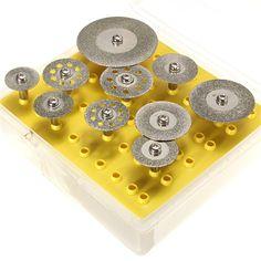 10pcs/lot Diamond Cutting Blade Cutting Wheel Set Dremel Rotary Tool Handle Diameter 3mm Mainly Used for Metal Cutting Stone