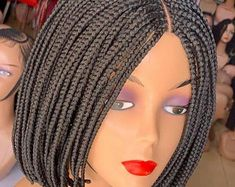 This wig is made to suit most face. The wig can last for over depending on the care. Air dry after shampooing. Not puffy or heavy on the head. Frontal Hairstyles, African Braids Hairstyles, African American Hairstyles, Braided Hairstyles, Bob Braids, Short Braids, Braids Wig, Cornrows, Lace Wigs
