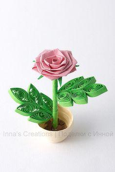 3D Rose in flower pot (quilling)