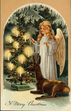 Vintage Christmas Tree and Angel Holiday Postcard , Vintage Christmas Images, Old Christmas, Christmas Scenes, Christmas Fabric, Victorian Christmas, Christmas Music, Retro Christmas, Vintage Holiday, Christmas Pictures