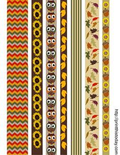 Free printable fall themed washi tapes