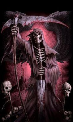Seeing the Grim Reaper Death Reaper, Grim Reaper Art, Grim Reaper Tattoo, Don't Fear The Reaper, Demon Tattoo, Dark Fantasy Art, Dark Art, Skull Pictures, Dark Pictures