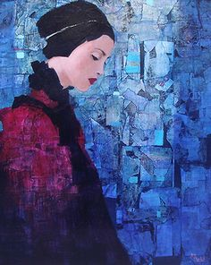 Female portrait, oil painting by French artist Richard Burlet Figure Painting, Painting & Drawing, Blue Painting, Richard Burlet, Neo Rauch, L'art Du Portrait, Female Portrait, Figurative Kunst, Inspiration Art