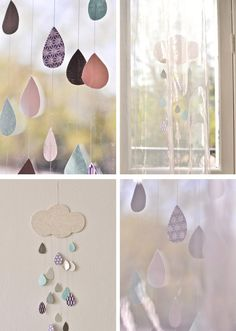 paper clouds and raindrops off the wall