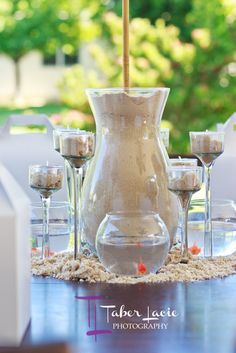 """Sand Centerpiece holding Parasol... Photo 1 of 39: Celebrate the start of summer / Summer """"Welcome Summer""""   Catch My Party"""