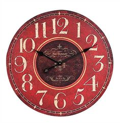 Large Red French Look Wall Clock - 23 Inches - Marmalade Mercantile