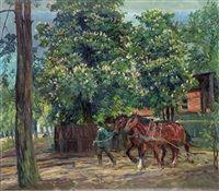 Pferdegespann in Stolpe von Philipp Franck