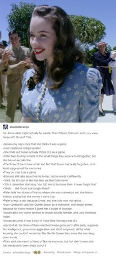 The amazing headcanons from the amazing Narnia fans on tumblr