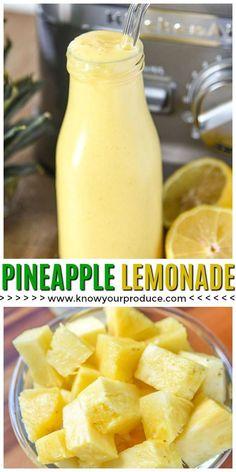 Refreshing Pineapple Looking for a delicious new Lemonade Recipe? Try our Pineapple Lemonade Recipe. Making homemade lemonade, simple! Juice Smoothie, Smoothie Drinks, Healthy Smoothies, Healthy Drinks, Healthy Recipes, Lemon Smoothie, Nutrition Drinks, Vitamix Recipes, Healthy Lemonade