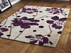 Modern Purple Aubergine Plum Colour Rugs In Large Small Medium Room Sizes Floral Area Rugs, Floral Rug, Contemporary Rugs, Modern Rugs, Small Media Rooms, Rectangle Area, Fabric Rug, Plum Color, Colour