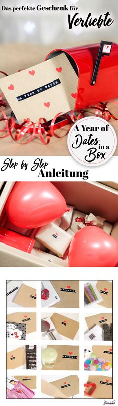 Those looking for the perfect gift for couples and lovers will find a creative idea here. A Year of Year Of Dates, Dates In A Box, Diy Crafts Step By Step, Diy And Crafts, Presents For Boyfriend, Boyfriend Gifts, Diy Gifts For Men, Diy Presents, Couple Gifts