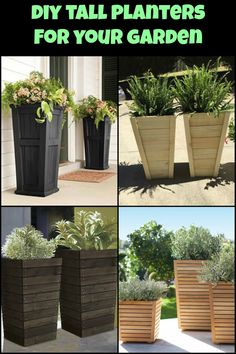 DIY tall planter project is a simple and fun way to add some oomph to your . - Deck Building Cost -This DIY tall planter project is a simple and fun way to add some oomph to your . Tall Outdoor Planters, Patio Planters, Large Planters, Outdoor Gardens, Diy Wooden Planters, Tall Planter Boxes, Front Porch Planters, Planter Ideas, Front Porches