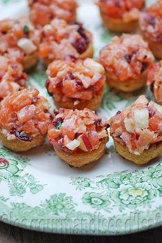 geneviève everell, tartare à la maison, tartare, saumon frais, saumon fumé à froid, canneberge, pomme