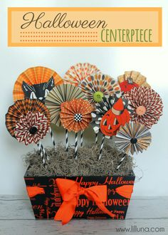 ADORABLE Halloween Centerpiece tutorial on { lilluna.com } #halloween. Full tutorial and  the colors and designs could easily be changed for any holiday!