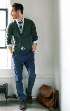 High School Outfit - Green Cardigan & Trouser