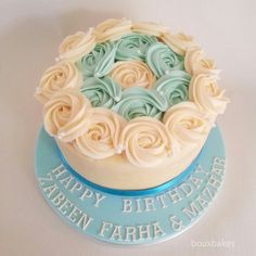 Teal and cream birthday cake (red velvet)