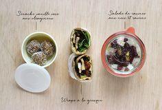 Healthy Lunchbox #1 « Mango and Salt Snack vanille-coco-oléagineux, wrape à la grecque, salade racines-noix-raisin